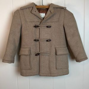 Vintage 60s/70s Boys Tan Wool Coat w/ Hood